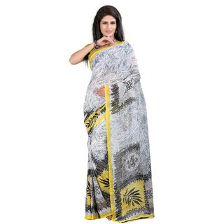 Fabdeal White Colored Weightless Printed Saree