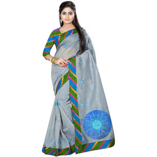 Fabdeal Grey Colored Cotton Embroidered Saree