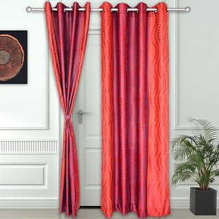 Story @ Home Red 2 pc Door curtain-7 feet-DNR2073