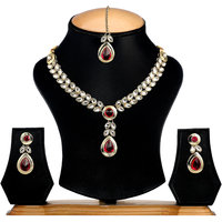 The Pari Silver Plated Silver  Maroon Necklace Set For Women