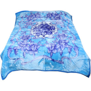 Indiweaves Polyester/Mink Super Comfort Winter Special Blue Double Bed Blanket (91723-IW-DB)