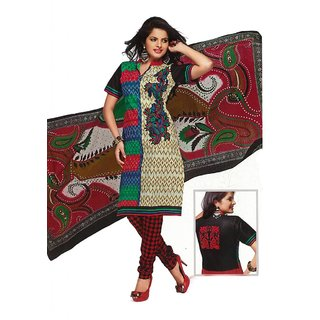 Salwar Studio Fawn & Red Cotton Printed Unstitched Churidar Kameez