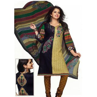 Salwar Studio Black & Fawn Cotton Printed Unstitched Churidar Kameez