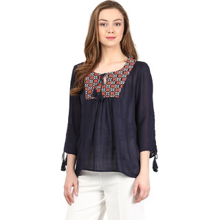 Harpa Navy Rayon Printed Womens Top