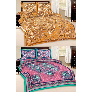 Shop Rajasthan Set of 2 Cotton Double Bed Sheet with 4 pillow covers (SRAN2002)