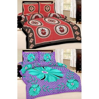 Shop Rajasthan Set of 2 Cotton Double Bed Sheet with 4 pillow covers (SRAN2003)