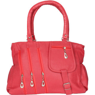 Chhavi Pink Leatherite Fabric Formal Plain Handbag