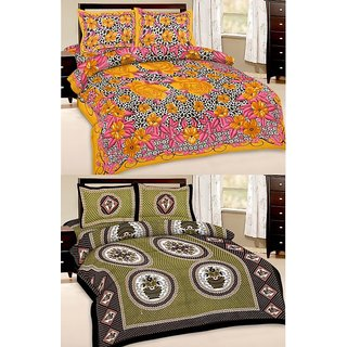 Shop Rajasthan Set of 2 Cotton Double Bed Sheet with 4 pillow covers (SRAN2005)