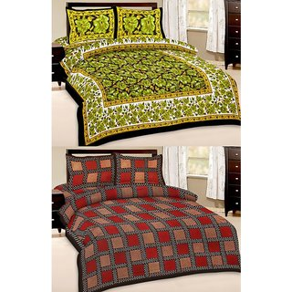 Shop Rajasthan Set of 2 Cotton Double Bed Sheet with 4 pillow covers (SRAN2007)