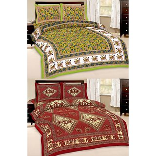 Shop Rajasthan Set of 2 Cotton Double Bed Sheet with 4 pillow covers (SRAN2010)