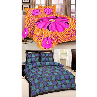 Shop Rajasthan Set of 2 Cotton Double Bed Sheet with 4 pillow covers (SRAN2008)