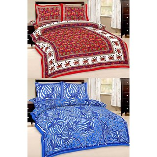 Shop Rajasthan Set of 2 Cotton Double Bed Sheet with 4 pillow covers (SRAN2011)