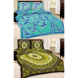 Shop Rajasthan Set of 2 Cotton Double Bed Sheet with 4 pillow covers (SRAN2012)