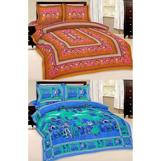 Shop Rajasthan Set of 2 Cotton Double Bed Sheet with 4 pillow covers (SRAN2014)