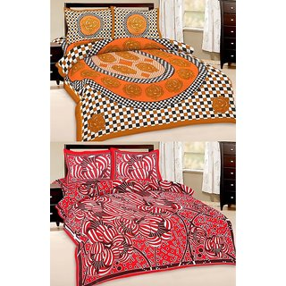Shop Rajasthan Set of 2 Cotton Double Bed Sheet with 4 pillow covers (SRAN2015)