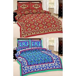 Shop Rajasthan Set of 2 Cotton Double Bed Sheet with 4 pillow covers (SRAN2019)