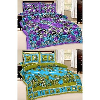 Shop Rajasthan Set of 2 Cotton Double Bed Sheet with 4 pillow covers (SRAN2021)