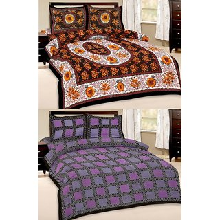 Shop Rajasthan Set of 2 Cotton Double Bed Sheet with 4 pillow covers (SRAN2024)