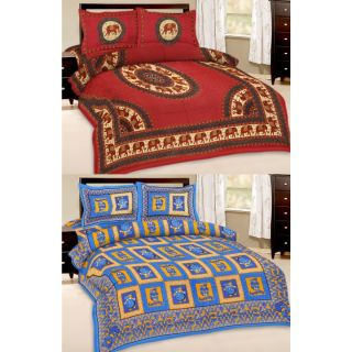 Shop Rajasthan Set of 2 Cotton Double Bed Sheet with 4 pillow covers (SRAN2025)