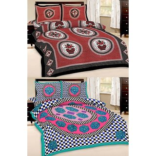 Shop Rajasthan Set of 2 Cotton Double Bed Sheet with 4 pillow covers (SRAN2026)