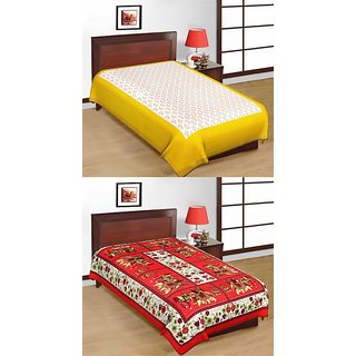Shop Rajasthan Set of 2 Cotton Single Bed Sheets (SRBN2005)