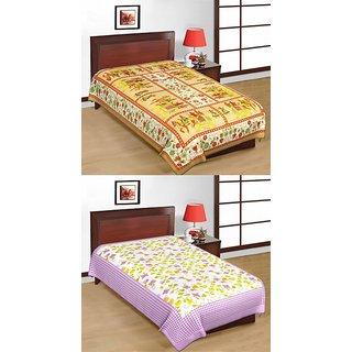 Shop Rajasthan Set of 2 Cotton Single Bed Sheets (SRBN2007)