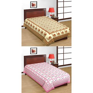 Shop Rajasthan Set of 2 Cotton Single Bed Sheets (SRBN2008)