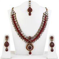 Kriaa Multicolor Gold Plated Necklace Set With Maang Tikka For Women