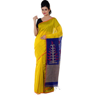Yellow and Blue Handloom Saree