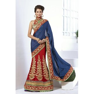 designer lehnga saree red and blue