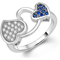 Om Jewells Sterling Silver Double Hearty ring with CZ stones for Women FR7000537