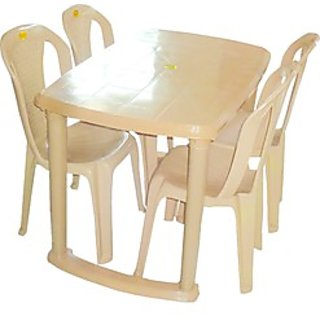 Plastic dining table with 4 chair set buy plastic dining - Set table plastique ...