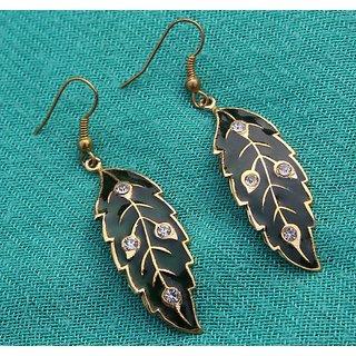 Perfect Fine Gold Plated Kundan Meenakari Handmade Leaf Designer Earring Sz 5 Cm