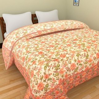 Marwal Jaipuri Light Weight Cotton Floral Print Pink Colour Reversible Double Bed Quilt