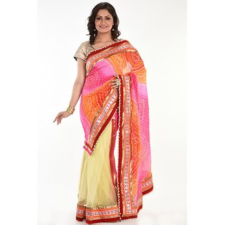 Bandhni ready pallu Saree With Moti Border and Heavy Blouse