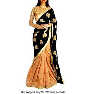 Model Georgette And Net Saree In Black And Peach Colour