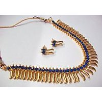 Dark Blue stone Golden Zigzak Necklace Set