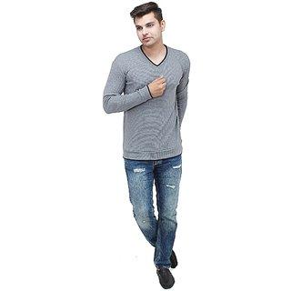 Inkdice Grey and black woolen blend Thermal pullover sweater for men
