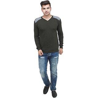 Inkdice Dark Green woolen blend Thermal pullover sweater for men