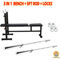 GB 3 IN 1 BENCH FOR HOME GYM  + 5FT BENCH ROD + 3FT ROD+ LOCK