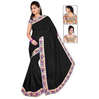 Active Prints Chiffon Black Lace work fancy saree