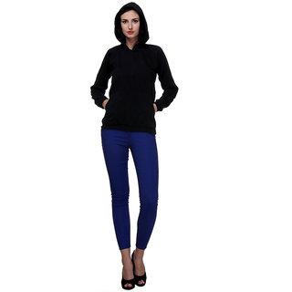 PURYS Black Solid Hoodie Sweatshirt