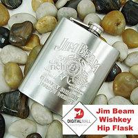 Heavy Stainless Steel Jim Beam Wishkey Hip Flask 225 Ml. Or 8 Oz