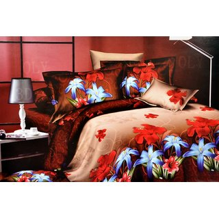 Valtellina  Flora Double Bed Sheet With 2 Pillow Covers(7-018)