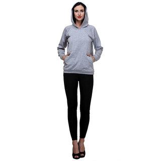 PURYS Grey Solid Hoodie Sweatshirt