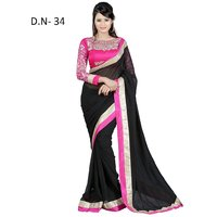 Varanga Black And Pink Saree With Unstitched Blouse