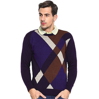 Duke Striped Round Neck Purple Casual Mens Sweater By Returnfavors