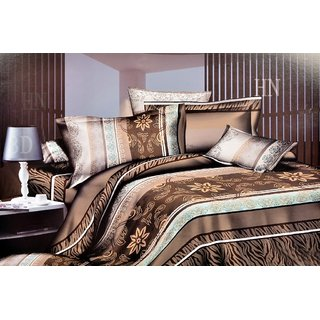 Valtellina  Flora Double Bed Sheet With 2 Pillow Covers(7-030)