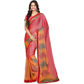 Aesha Orange Kanchipuram silk Self Design Saree With Blouse