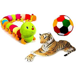 Soft Toys Caterpiller Stuffed Tiger & Ball Combo pack of 3 - 55 cm